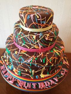 Multi coloured birthday cake.