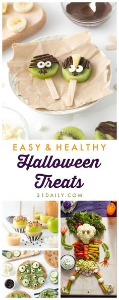 As October nears, we've gathered some Easy, Fun, Healthy Halloween Treats Your Trick-or-Treaters Will Love. With Halloween just around the corner, you may be thinking about treats and tricks and sweet goodies for the Scary Halloween Treats, Halloween Snacks For Kids, Halloween Camping, Halloween Food For Party, Halloween Ideas, Halloween Makeup, Spooky Food, Halloween Appetizers, Holiday Snacks