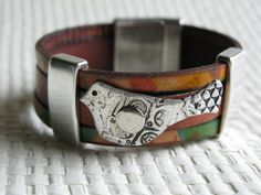 Leather Bracelet with Fine Siver Bird by CathyGreenStudio on Etsy