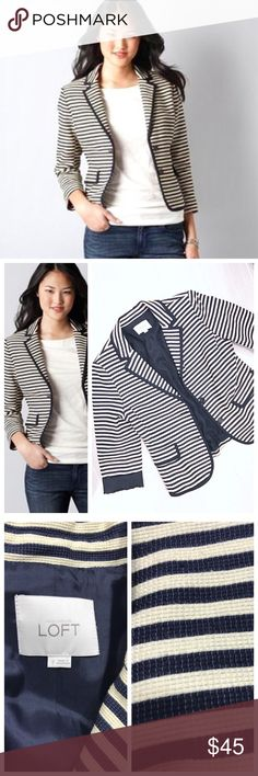 LOFT Blazer Navy & Cream Striped LOFT blazer/ jacket with navy blue and cream / beige horizontal stripes. Sleeves look great rolled up or full length. Navy buttons. Textured material making it a great year round piece! Shell 93% cotton 7% nylon. Lining 100% acetate. Dryclean. LOFT Jackets & Coats