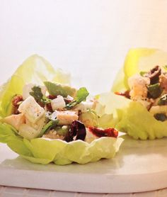 Giada's Chopped Chicken Salad in Butter Lettuce Cups Giada Recipes, Salad Recipes, Healthy Recipes, Lettuce Cups, Feel Good Food, Chopped Salad, Soup And Salad, Main Dishes, Favorite Recipes