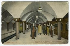 Employees standing in the Hudson & Manhattan Subway Terminal, New York, c.1909 postcard. ~ {cwlyons} ~ (Image/collection: NYPL)