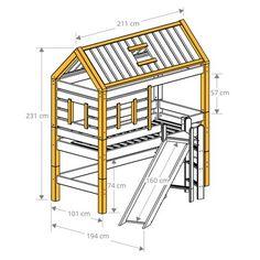Lit cabane à toboggan bois massif