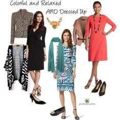 """""""Colorful, relaxed AND dressed up"""" by professionality (Dresses from Chico's) - Set created for a follower who is receiving an award and wants to be herself - colorful and relaxed yet put together and a bit more formal"""
