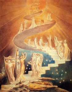 Jacob's Ladder - William Blake - WikiArt.  Every night and every morn Some to misery and born. Every morn and every night, Some are born to sweet delight. Some are born to sweet delight, Some are born to endless night.