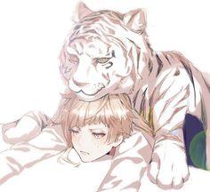The tiger wants to play with Atsushi but he's tired. Boys Anime, Chica Anime Manga, Anime Oc, Cute Anime Guys, Anime Chibi, Dazai Bungou Stray Dogs, Stray Dogs Anime, Bungou Stray Dogs Characters, Anime Characters