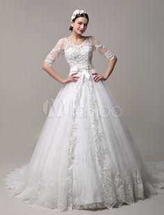 Vestido de casamento de laço linda Catedral, trem com decote em v com recorte costas