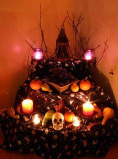 hallowmas / samhain goddess altar lit (pretty!)
