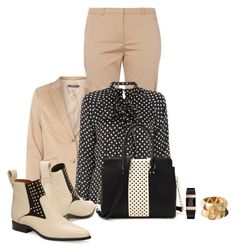 """""""Office outfit: Beige - Black"""" by downtownblues ❤ liked on Polyvore"""