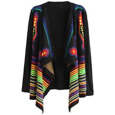 Ethnic Pattern Cardigan with Irregular Hem (115 BRL) ❤ liked on Polyvore featuring tops, cardigans, chicnova, jackets, print cardigan, patterned tops, cardigan top, long sleeve tops and light weight cardigan