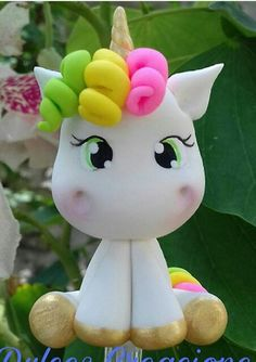 Cute Polymer Clay, Fimo Clay, Polymer Clay Crafts, Party Unicorn, Unicorn Birthday Parties, 13 Birthday, Fondant Animals, Clay Animals, Fondant Toppers