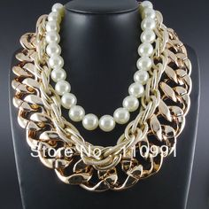 Latest Design Chunky Bib Gold Choker Pearl Statement Chain Necklaces Jewelry Women