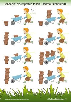 Tel de bloempotten,  thema tuincentrum  , kleuteridee.nl ,preschool math, count the pots, free printable.