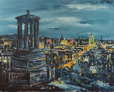 Calton Hill, Acrylic painting by Colm O'Brien | Artfinder