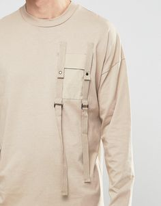 Image 3 of ASOS Long Sleeve T-Shirt With Military Pocket And Strap Detail.