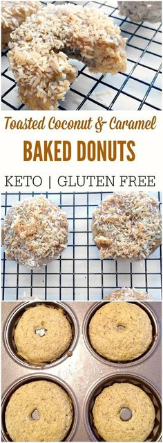 Low Carb Toasted Coconut Donuts - Don't miss out on donuts just because you eat low carb. These keto donuts are healthy & will keep you on track with your macros! Homemade caramel in 30 seconds and toasted coconut take these over the top. Low Carb Donut, Low Carb Sweets, Low Carb Keto, Low Carb Recipes, Easy Recipes, Desserts Keto, Dessert Recipes, Keto Snacks, Drink Recipes