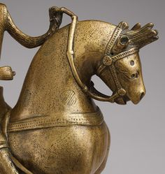Detail, German Aquamanile in the Form of a Knight on Horseback, c. mid-13th century