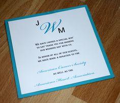 Wedding thank you favor card.