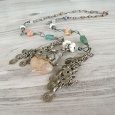 Tribal Bohemian Necklace Crystal Necklace Handmade