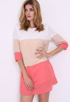 White Long Sleeve High Low Color Block Dress