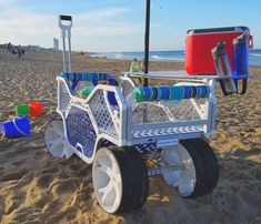 Beach cart with wide wheels to cruise over the sand, a moveable tailgate and optional table and seat back. Beach Pool, Beach Fun, Beach Trip, Beach Camping, Camping Hacks, Camping Gear, Fishing Cart, Fishing Tips, Kids Wagon