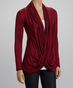 Take a look at this Burgundy Twist Drape Top on zulily today!
