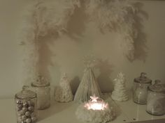 White mantel without fireplace White Mantel, Glass Vase, Handmade, Home Decor, White Mantle, Hand Made, Decoration Home, Room Decor, Home Interior Design
