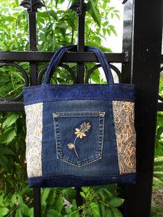 Vintage Style Upholstery & Dark Blue Jean Bag by SewOldSeamsNew, $26.00