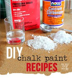 DIY Chalk Paint Review Update - In My Own Style.  She describes all that she has tried and tells why/why not she doesnt like them.  Her favroite are calcium carbonate and plaster or paris.