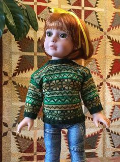 Gabi's Emerald Isle pattern by Peggy Stuart : 1) http://www.ravelry.com/patterns/library/gabis-emerald-isle 2) http://www.ravelry.com/dl/peggy-stuart-designs/669668?filename=Emerald_Isle_Medium_Doll_Sweater.pdf