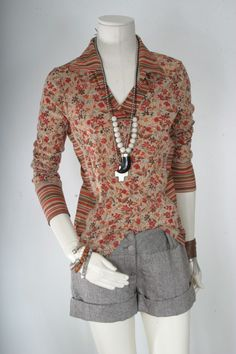 Art top women Psychedelic printed blouse orange red by sparrowlyn, $23.00