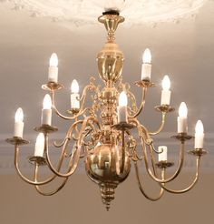Oversized vintage brass chandelier!