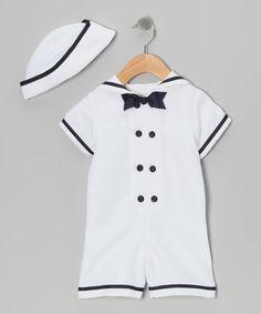 White & Navy Sailor Bodysuit & Hat - Infant