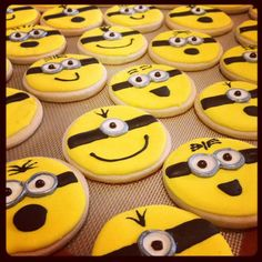 "Royal icing ""Minion cookies"".  love those minions!!!"