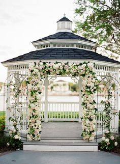 Gorgeous wedding ceremony idea - This garden chic Florida wedding is complete with the prettiest details for the perfect romantic wedding. See the photos captured by Justin DeMutiis. Backyard Gazebo, Garden Gazebo, Gazebo Wedding Decorations, Outdoor Wedding Gazebo, Backdrop Wedding, Wedding Backyard, Outdoor Ceremony, Gazebos, Mod Wedding