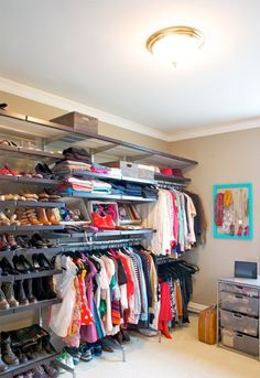 Convert a bedroom into a deluxe walk in closet.how do I convince my husband that I should get to do this to the spare room? Closet Bedroom, Master Closet, Closet Space, Walk In Closet, Smart Closet, Closet Wall, Bedroom Bed, Bed Room, Bedroom Decor