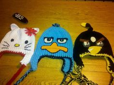 Hello Kitty, Pery and Black Angry Bird knit crochet punch needle hat