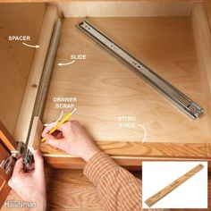 7 Roll-Out Cabinet Drawers You Can Build Yourself Avoid Mistakes With a Story Stick Diy Kitchen Cabinets, Kitchen Drawers, Kitchen Redo, Kitchen Design, Kitchen Remodel, Cupboards, Farmhouse Remodel, Diy Interior, Building Drawers