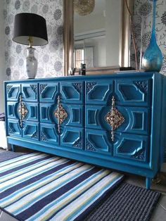 Re-tiqued by Rae Bond: Turquoise Distressed Dresser Re-tiqued by Rae Bond: Turquoise Distressed Dresser Funky Furniture, Refurbished Furniture, Paint Furniture, Repurposed Furniture, Furniture Projects, Furniture Makeover, Vintage Furniture, Furniture Design, Moroccan Furniture