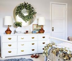 Ginny's Christmas Bedroom featured on Emily Henderson's blog is stunning. Love those wood lamps from Rejuvenation!
