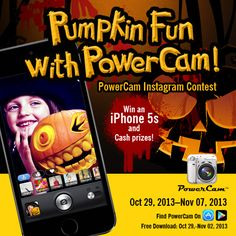 How to Enter: 1. Follow PowerCam on Instagram. 2. Capture and Edit carved Pumpkin photos with the PowerCam App 3. Upload to Instagram, Tag #powercamhalloween and @PowerCam Wondershare 4. The 4 Most Creative and voted on pictures will be selected to win the iPhone 5s or a share of $200 total prize money.