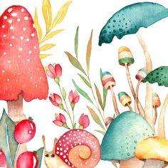 credit cards graphic watercolor mushroom clipart f - Art And Illustration, Watercolor Illustration, Watercolor Paintings, Watercolour, Mushroom Clipart, Mushroom Art, Arte Floral, Art Plastique, Graphic