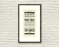 ELTON JOHN Inspired, Tiny Dancer Lyric Poster - 7 x 15 Typography Art Print, Modern Poster, Retro Home, Vintage, Rock Music. $20.00, via Etsy.