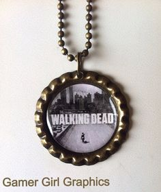 The Walking Dead Season 1 Logo Bottle Cap Necklace on Etsy, $5.00