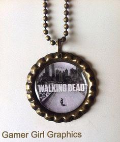 The Walking Dead Season 1 Logo Bottle Cap Necklace on Etsy, $5.00