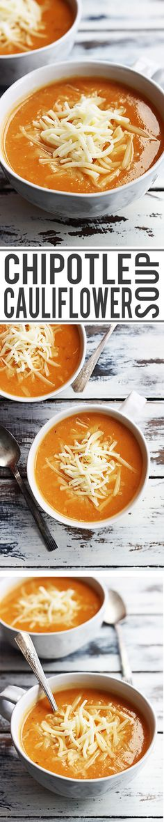 Creamy cheddar cauliflower soup with a spicy chipotle kick - I love how easy and quick this recipe is, plus using a cauliflower base really lightens up the dish without losing flavor!