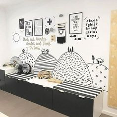 Monochrome kids nursery / playroom designed by @thewholechildinteriors. Black and white, kids room, scandi nursery, boys room, kids decor, nursery decoration, styling, design.