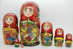 7 Authentic Masha and Bear Russian Nesting dolls Matryoshka, babushka