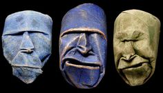 What Monsieur Jacquet is perhaps most famous for is his masks, made from toilet paper rolls. He first focuses on constructing the eyes, then the nose, mouth, and finally a facial expression. He then mounts these masks to a flexible metal staff with a foot. The pieces are coated with shellac and sometimes pigments.