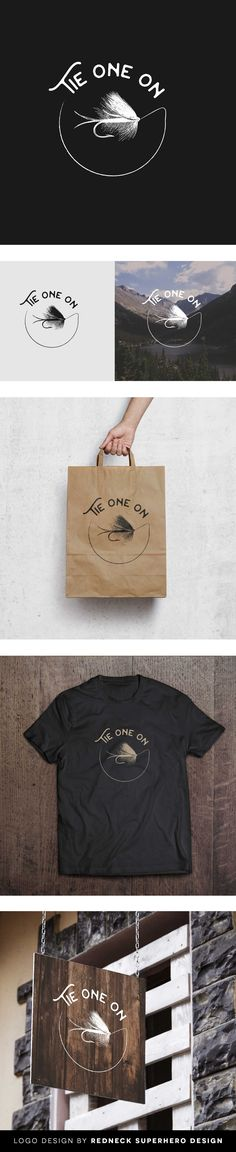A fly fishing shop with a full service bar & food. Yes. Love branding for a shop like this.  Inspiration for the logo is:  Tie One On is to be located in the historic River North Art District near downtown Denver.  It is mainly comprised of cool old brick industrial buildings and warehouses that have been repurposed as restaurants, bars, shops, and art galleries.  A vintage vibe is the look and feel we are going for.  Minimal Vintage Logo Design